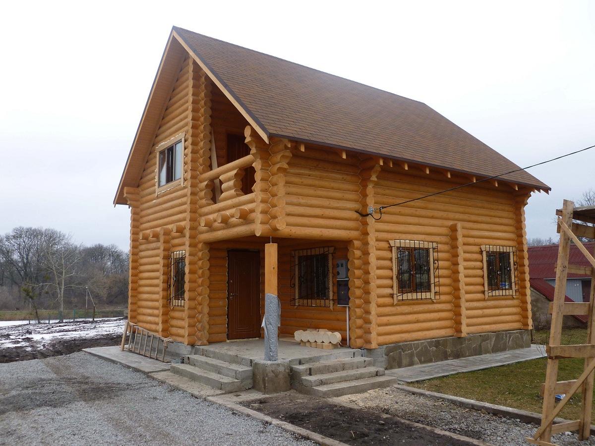 """Общий вид, Частный дом из бруса, обработан Герметиком Неомид """"Теплый дом"""" """"Wood Professional""""."""